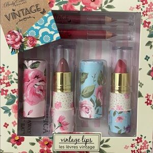 Vintage lips floral tubes of lipstick and liners